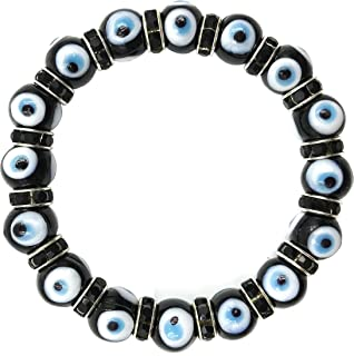 LuckyEye Evil Eye Bracelet Turkish Murano Glass Bead Crystal Kabbalah Jewelry for Protection