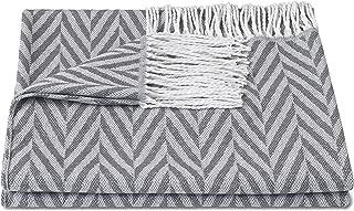 ZOLLNER Manta para el sofá con Flecos, 130x170 cm, Gris Claro, Otro Color