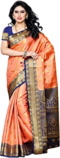 Mimosa Women's Traditional Art Silk Saree Kanjivaram Style With Blouse Color:Peach(3300-225-PCH-NVY)