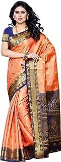 MIMOSA Artificial Silk Saree Kanjivaram Style with Blouse Color:Peach