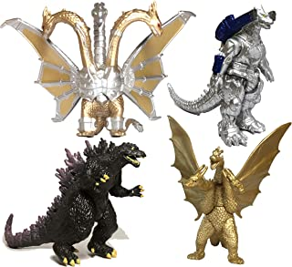 EZFun Set of 4 Godzilla Toys Movable Joint Birthday Kids 2019 Action Figures King of the Monsters Burning Heisei Mecha Ghidorah Pack Plastic Mini Dinosaur Playsets Cake Toppers Package