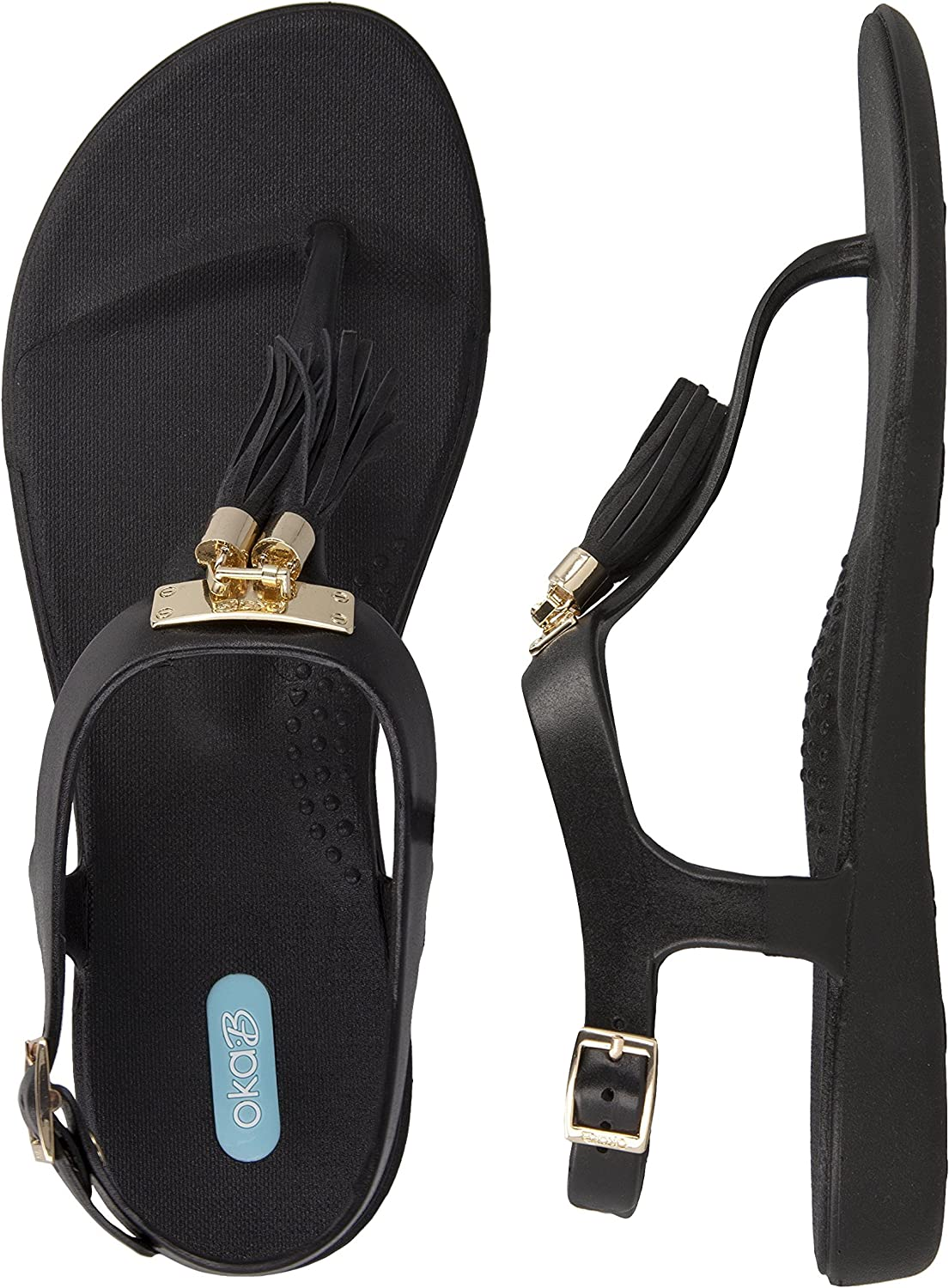 Tasha Flip Flop Sandal with Ankle Strap color Licorice by OkaB