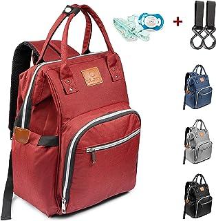 ULJAN Baby Wickeltasche Wickelrucksack multifunktional Windeltasche - Rot Babytasche mit 2 Kinderwagen Haken Mama Rucksack Wasserdicht