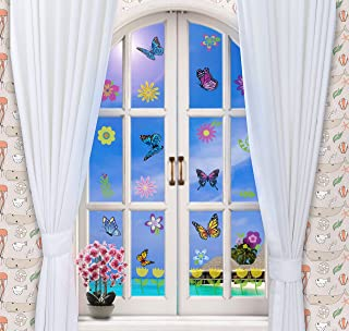 MerryJoyParty Spring Flower and Butterfly Window Clings Removable Double Side Static Window Clings for Easter and Spring Party 10.5