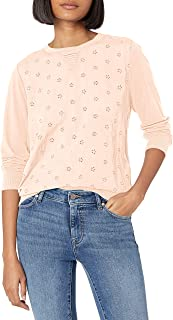Lucky Brand Women's Long Sleeve Scoop Neck Mix Media Pullover Top
