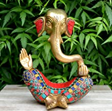 Ganesh with Decorative Work - Brass Modern Decorative Style God Ganpati Idol - Unique Gift and Home Decor showpiece