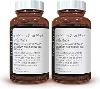 10X Horny Goat Weed Extract (3750mg) Maca Extract (2500mg) x 360 Tablets - (2 Bottles of 180 Tablets) with 5mg Black Peppe...