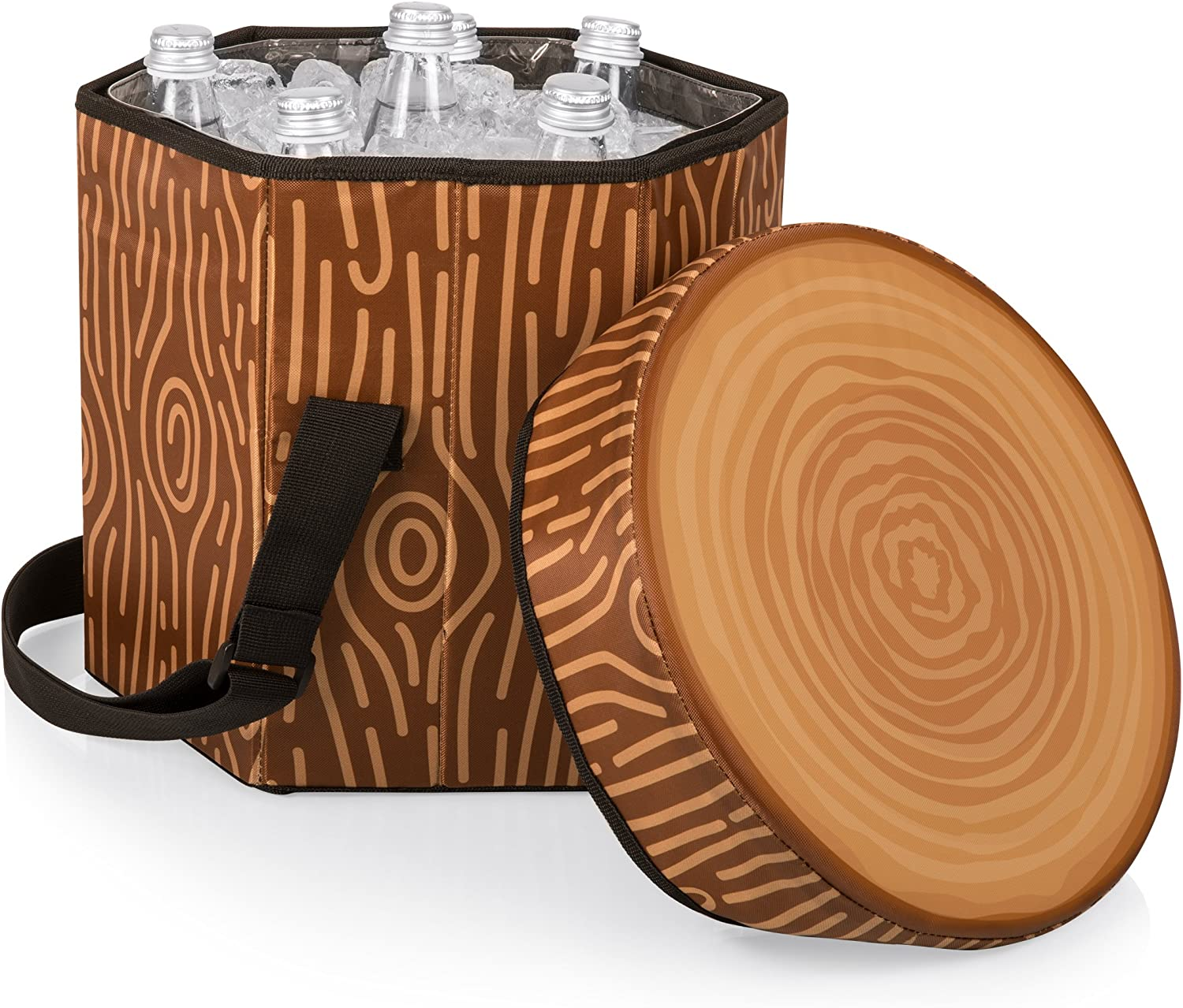 ONIVA a Picnic Time Brand Bongo Insulated Collapsible Cooler Tree Stump Pattern