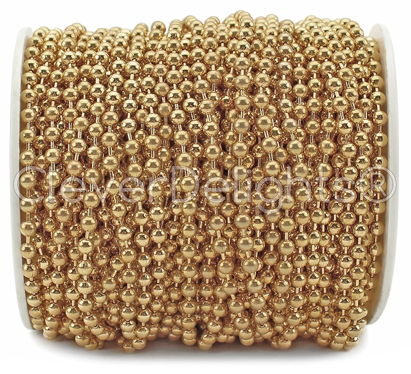CleverDelights Ball Chain Spool - 30 Feet - 3.2mm Ball (#6 Size) - Champagne Gold Color - 10 Meters