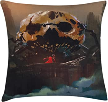 Ambesonne Antler Decor Throw Pillow Cushion Cover Multicolor Bohemian Deer Head Skull Decorated with Roses and Feathers Hand Drawn Art 16 X 16 Inches Decorative Square Accent Pillow Case