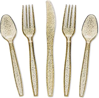 Juvale 144-Pack Gold Glitter Plastic Silverware Set - Disposable Party Cutlery Utensils, Includes 48 Spoons, 48 Forks, 48 ...