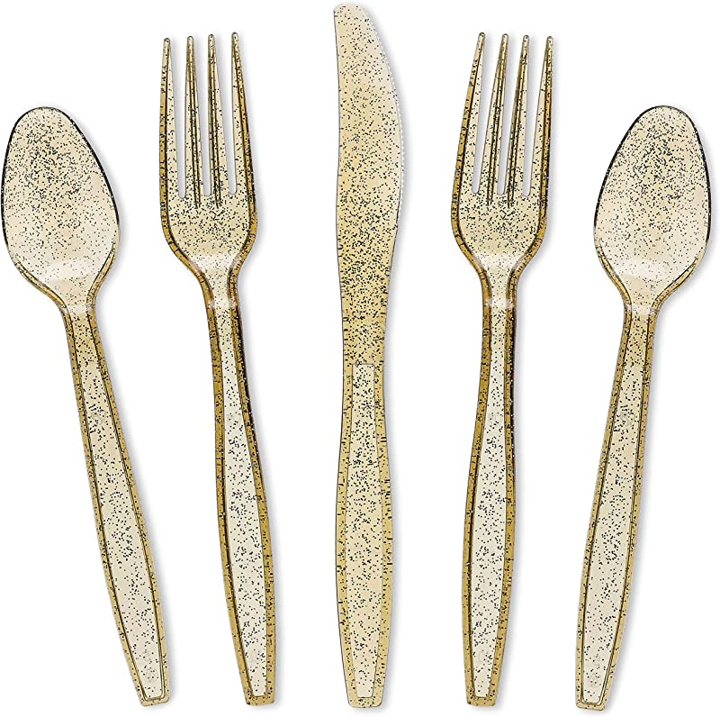 Juvale 96 Pack Gold Glitter Plastic Silverware Set Disposable Party Cutlery Utensils Includes 32 Spoons 32 Forks 32 Knives