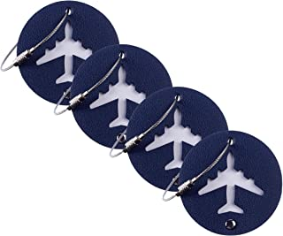 Leather Luggage Bag Instrument Tag Cirlce (navy blue 4 pcs set)