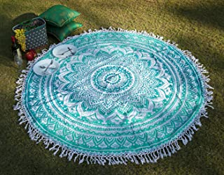 RAJRANG BRINGING RAJASTHAN TO YOU Tapestry Wall Hanging - Cute Hippie Mandala Tapiz Queen Size Cotton Bedding Bohemian Boho Bedspread Wandteppich (Round, Sea Green)