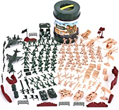 JOYIN Military Soldier Playset Army Men Play Bucket Army Action Figures Battle Group Deluxe Military Playset with Army Men, Aircrafts, Helicopters, Tanks with Bucket (164 Piece)