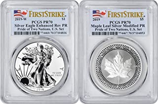 2019 Pride of Two Nations Enhanced Reverse Proof American Silver Eagle and Modified Proof Canadian Maple Leaf 2-Coin U.S. Set, PR70, First Strike, PCGS