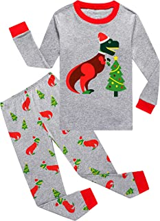 KikizYe Little Big Boys Long Sleeve Pajama Sets 100% Cotton Pjs