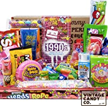 VINTAGE CANDY CO. 1990s RETRO CANDY GIFT BOX - 90s Nostalgia Candies - Flashback NINETIES Fun Gag Gift Basket - PERFECT '90s Candies For Adults, College Students, Men or Women, Kids, Teens