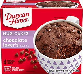 Duncan Hines Perfect Size for 1 Cake Mix, Ready in About a Minute, Chocolate Lover's Cake, Individual Pouches, 4 Count per pack, 10.16 Ounce