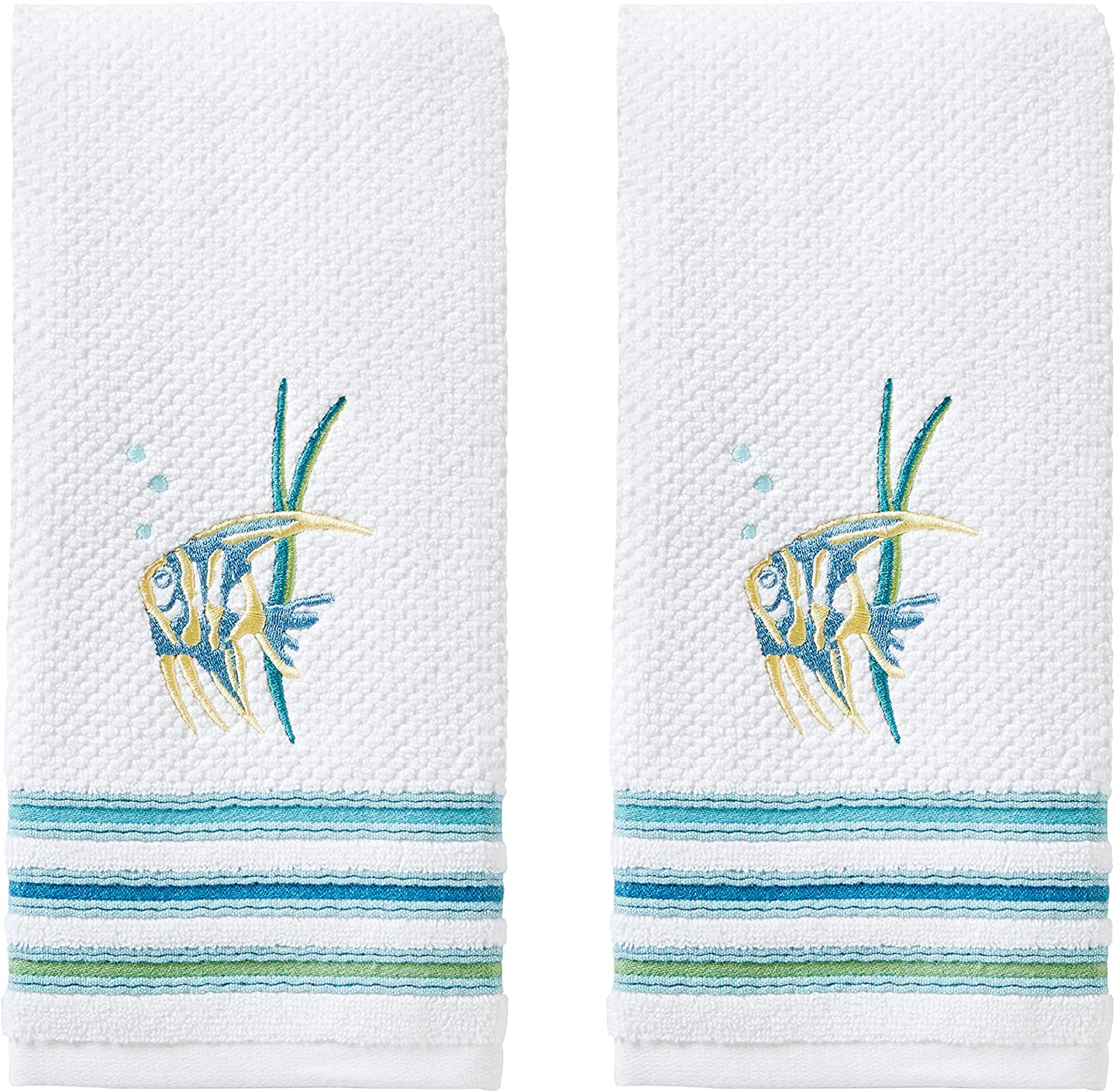 SKL Home by Saturday Knight Ltd. Ocean Watercolor Hand Towel, White (2-Pack), 16 x 26