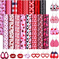 20 x 30 cm for Christmas DIY Bow Jewelry Making 9 Pieces Christmas Printed Fabric Faux Leather Fabric Sheets DIY Elk Leather Fabric Glitter Light Solid Color Fabric Assorted Christmas Leather Sheets