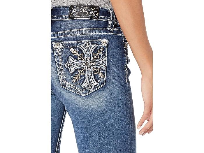 Miss Me Hailey Cross Embellished Skinny Jeans in Medium Blue