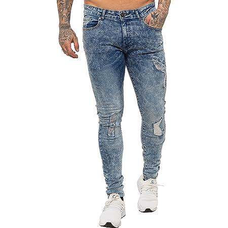 New ENZO Mens Skinny Super Stretch Fit Ripped Denim Jeans Light Stonewash 32 W X 34L