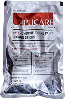 Medline DYND70288 Pre-Saturated Povidone Iodine Paint Sponge Sticks (Pack of 30)