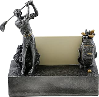 Golfer Business Card Holder Character Desk Display And Organizer, Golfer With Clubs In Motion