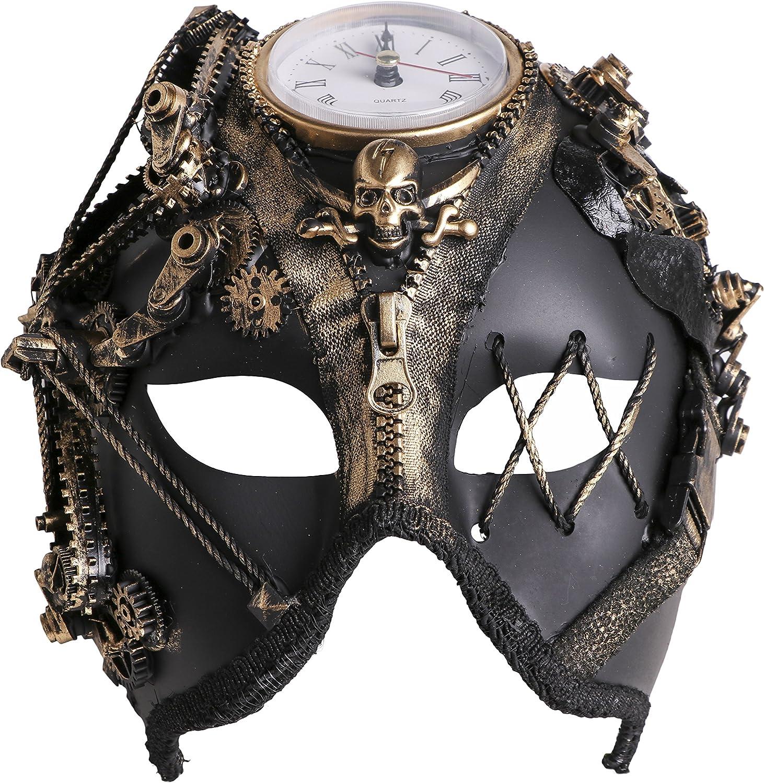 Arsimus Steampunk Functioning Mechanical Clock Burning Man Skull Harlequin Mask