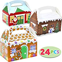 24 Pieces 3D Christmas House Cardboard Treat Boxes for Holiday Xmas Goody Gift, Goodie Paper Boxes, School Classroom Party Favor Supplies, Candy Treat Cardboard Cookie Boxes.