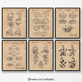 Original Lego Patent Poster Prints, Set of 6 (8x10) Unframed Photos, Wall Art Decor Gifts Under 20 for Home, Office, Garage, Man Cave, College Student, Teacher, Coach, Children, Comic-Con & Movies Fan
