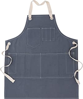 Penguin Home 100% Cotton Grey Colour Stone Washed Denim Apron with Removable Natural Cotton Ties and Adjustable Neck Strap...