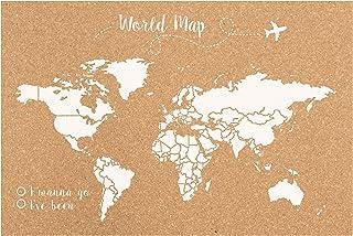 Decowood - Mapa Mundi de Corcho, Grande, para Marcar Tus Viajes por el Mundo y Colgar en la Pared, Blanco - 90x60cm