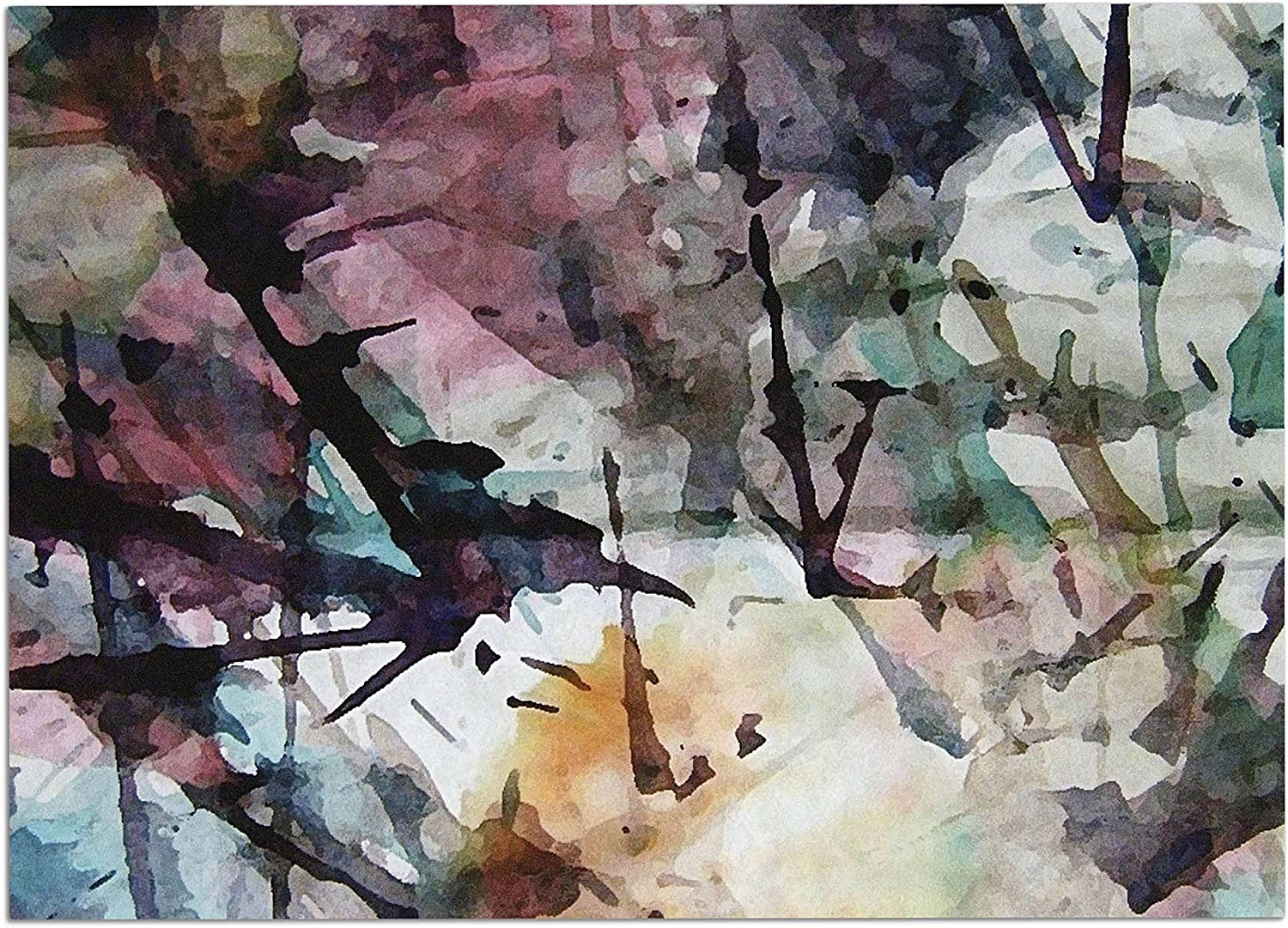 KESS InHouse MS6029ADM02 Malia Shields Abstract Trees Abstract Painting Dog Place Mat, 24  x 15