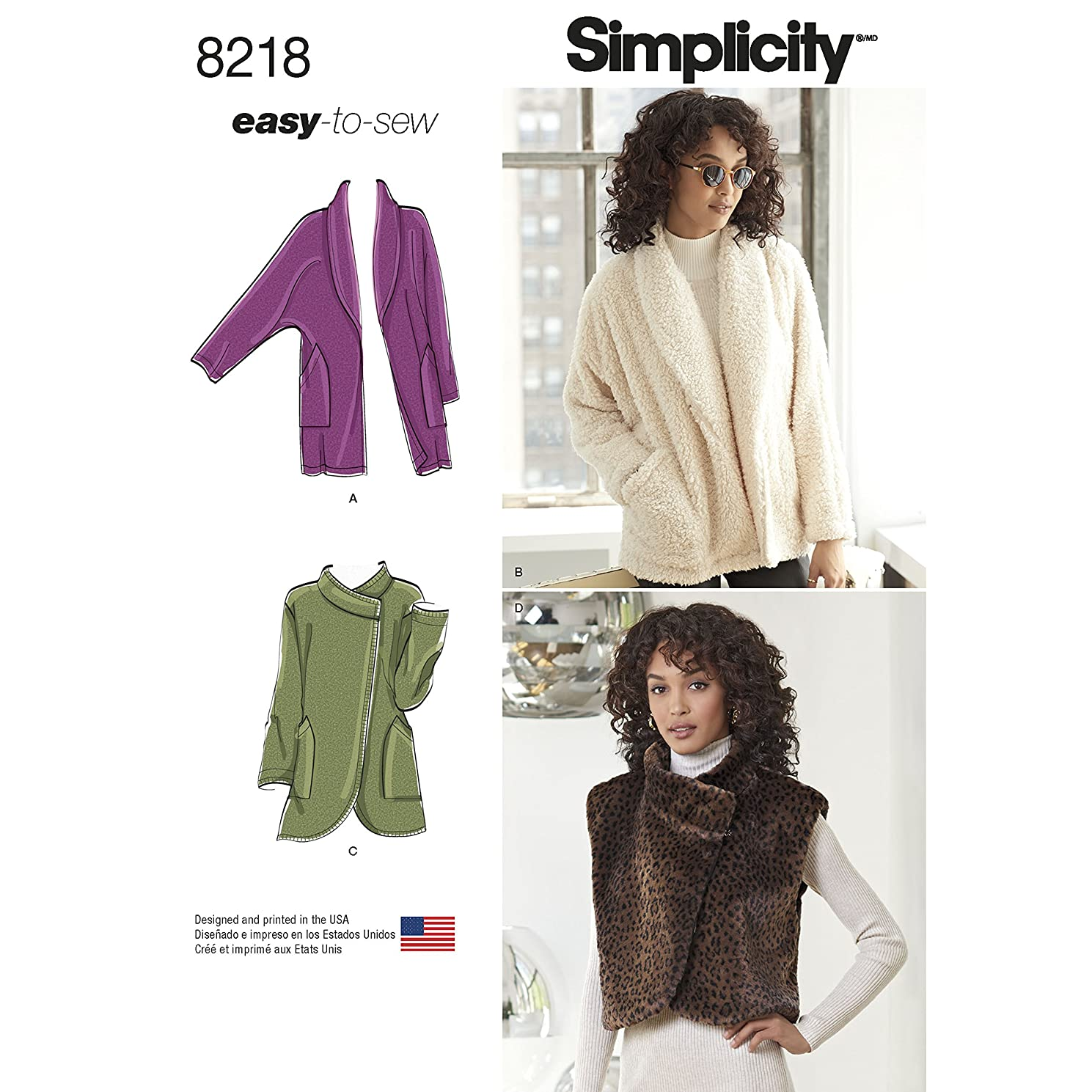 Simplicity Creative Patterns Simplicity Pattern 8218 Misses' Easy-to-Sew Jackets and Vest