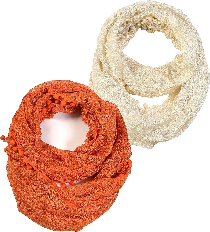 Scarfand's Lightweight Solid Color Pom Pom Infinity Fashion Scarf