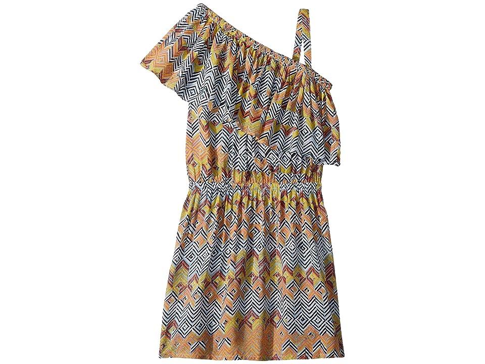 Ella Moss Girl All Over Print One Shoulder Dress (Black/All Over Print) Girl