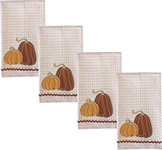 """Lintex Harvest Gourds 4 Piece 100% Cotton Oversized Dish Towel Set - Cottage Farm Gourds Set of 4 Large 16"""" x 28"""" Thanksgiving, Autumn, Fall Fast Drying Kitchen Towels, Harvest Gourds 4 Pack"""
