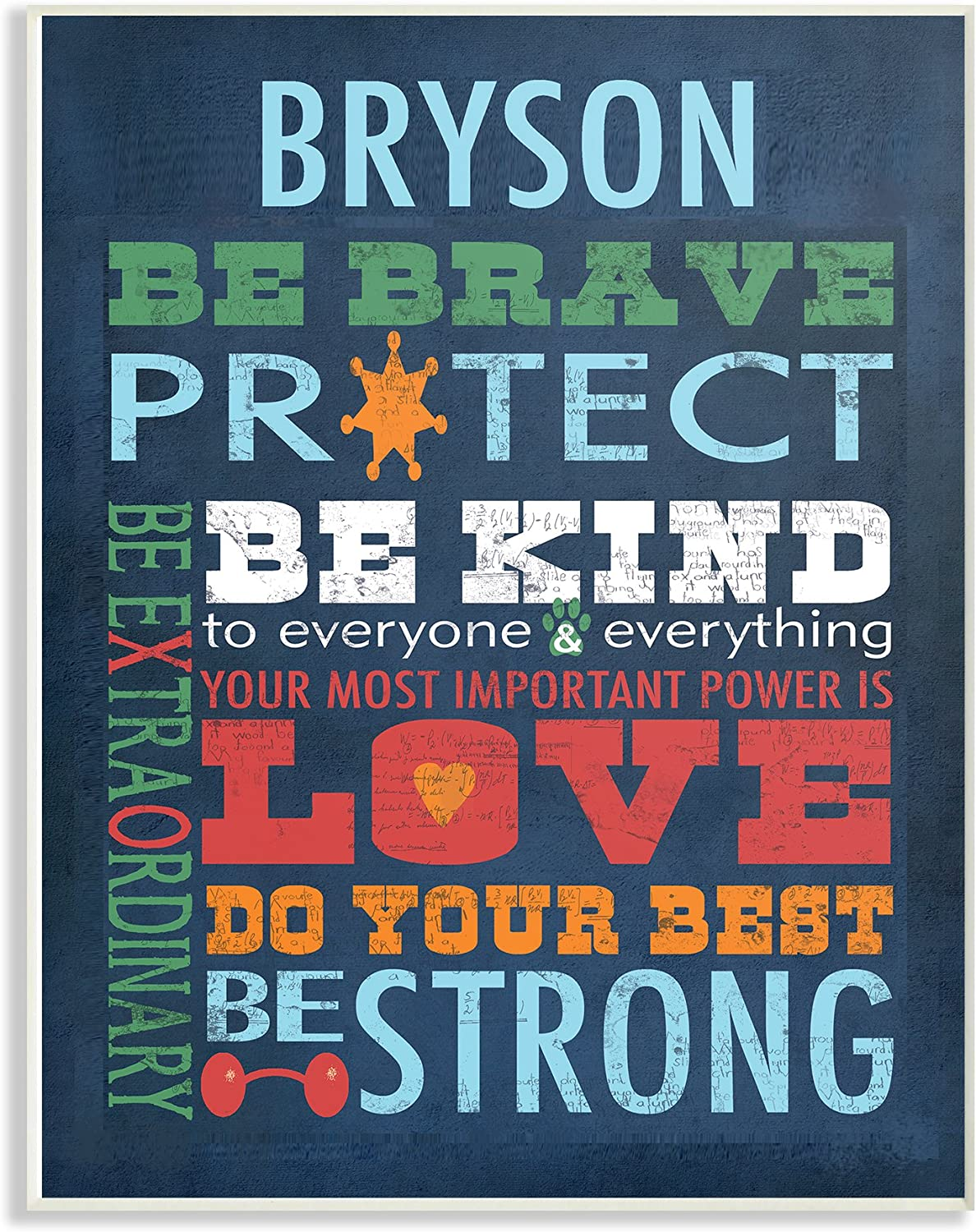 The Kids Room by Stupell Be Brave Typog Personalized Wall Plaque Art, 10 x 0.5 x 15, Proudly Made in USA