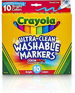 CRAYOLA 58-7855 10ct Ultra-Clean Markers,Bright Neon Colours, Washable, Broad Tip, Colouring Fun, Education, School Projec...