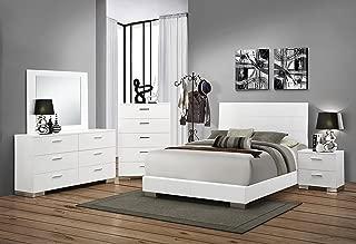 Coaster Home Furnishings Platform Bed, Glossy White