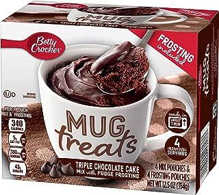 Betty Crocker Baking Mug Treats Triple Chocolate Cake Mix with Fudge Frosting, (Pack of 6)
