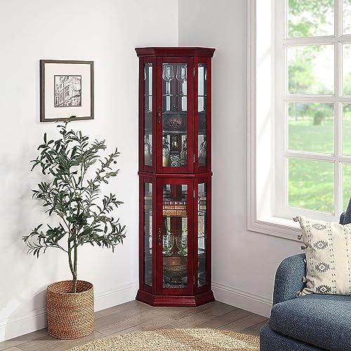 lowest BELLEZE Lorona Floor Standing 5 Sided Lighted Corner sale popular Curio Cabinet, Cherry outlet sale