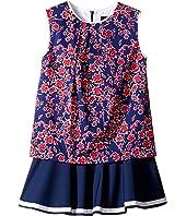 Oscar de la Renta Childrenswear Graphic Floral Cotton Multi Layer Dress (Toddler/Little Kids/Big Kids)