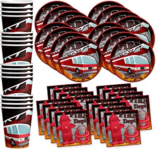 Fire Fighter Birthday Party Supplies Set Plates Napkins Cups Tableware Kit for 16 by Birthday Galore