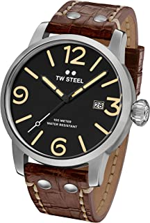 TW Steel Men's Maverick Stainless Steel Quartz Watch with Leather Calfskin Strap