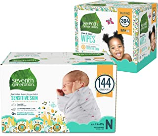 Seventh Generation Newborn Baby Bundle - 144 Diapers with Animal Prints and 384 Baby Wipes for Sensitive Skin