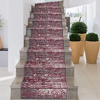 iCustomRug, Decorative Area Rug and Carpet Runner for Stairs Hallway, 8 Patterns - Customizable Lengths, Non-Skid Rubber Back, Stripe, Red, 26