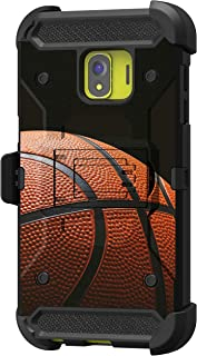 TurtleArmor   Compatible with Samsung Galaxy J2 Core Case   J2 Dash   J2 Pure [Armor Pro] Heavy Duty Full Body Kickstand Holster Belt Clip Armor Case Sports and Games - Basketball Seams